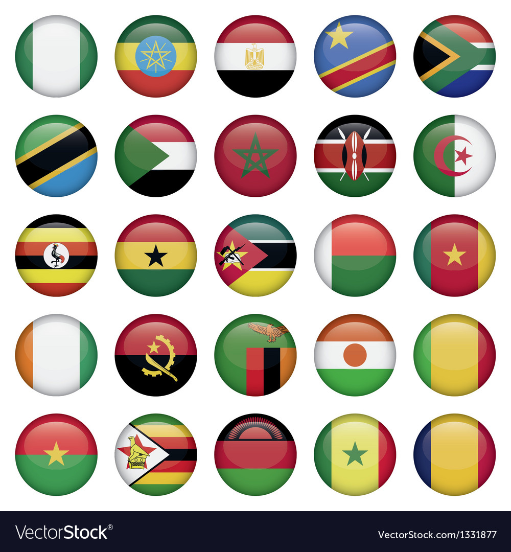 African flags round icons vector