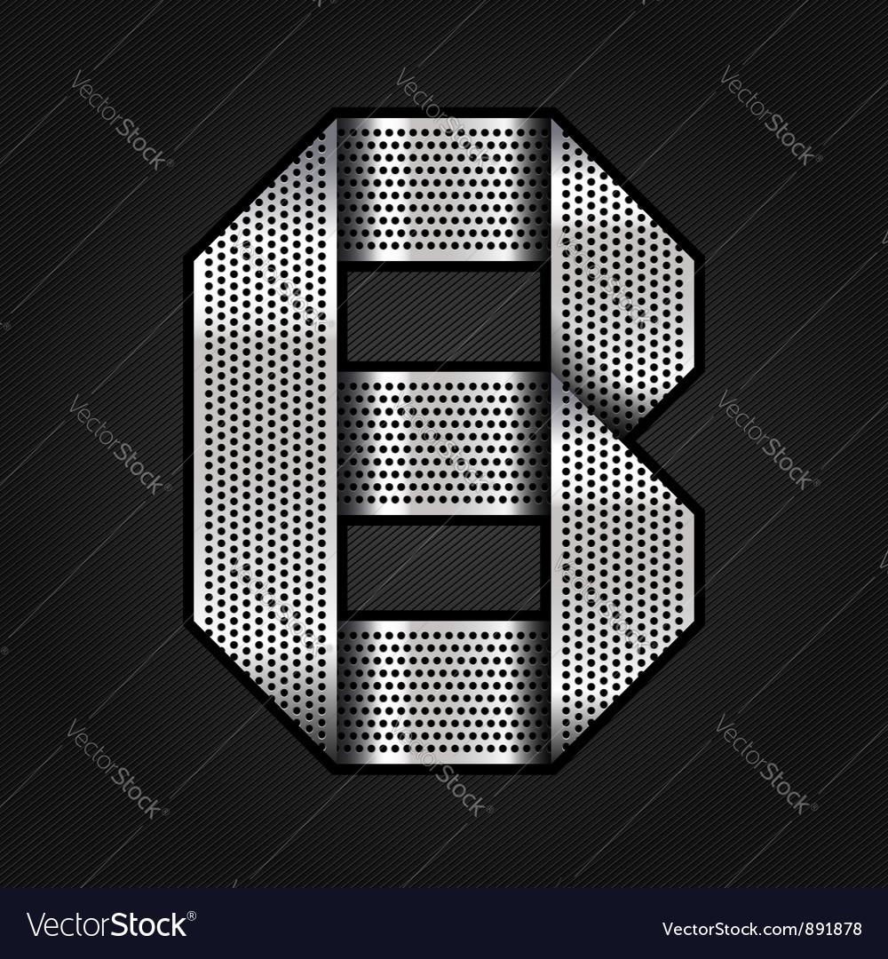 Letter metal chrome ribbon - b vector