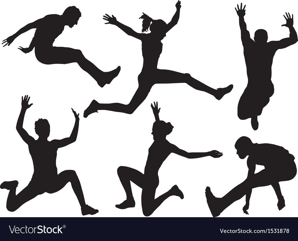 Long jump silhouette vector