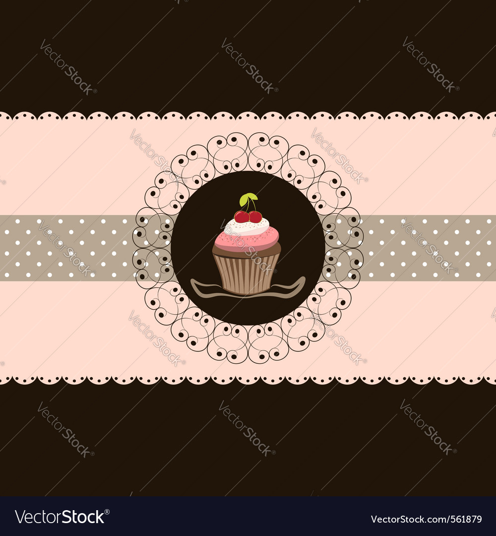 Cherry cupcake invitation card pink brown backgrou vector