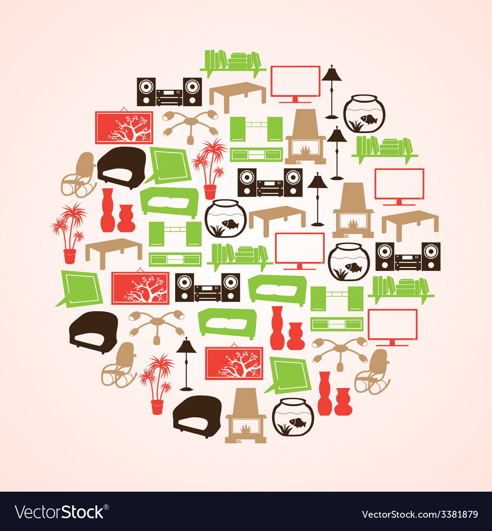 Color living room icon set in circle eps10 vector