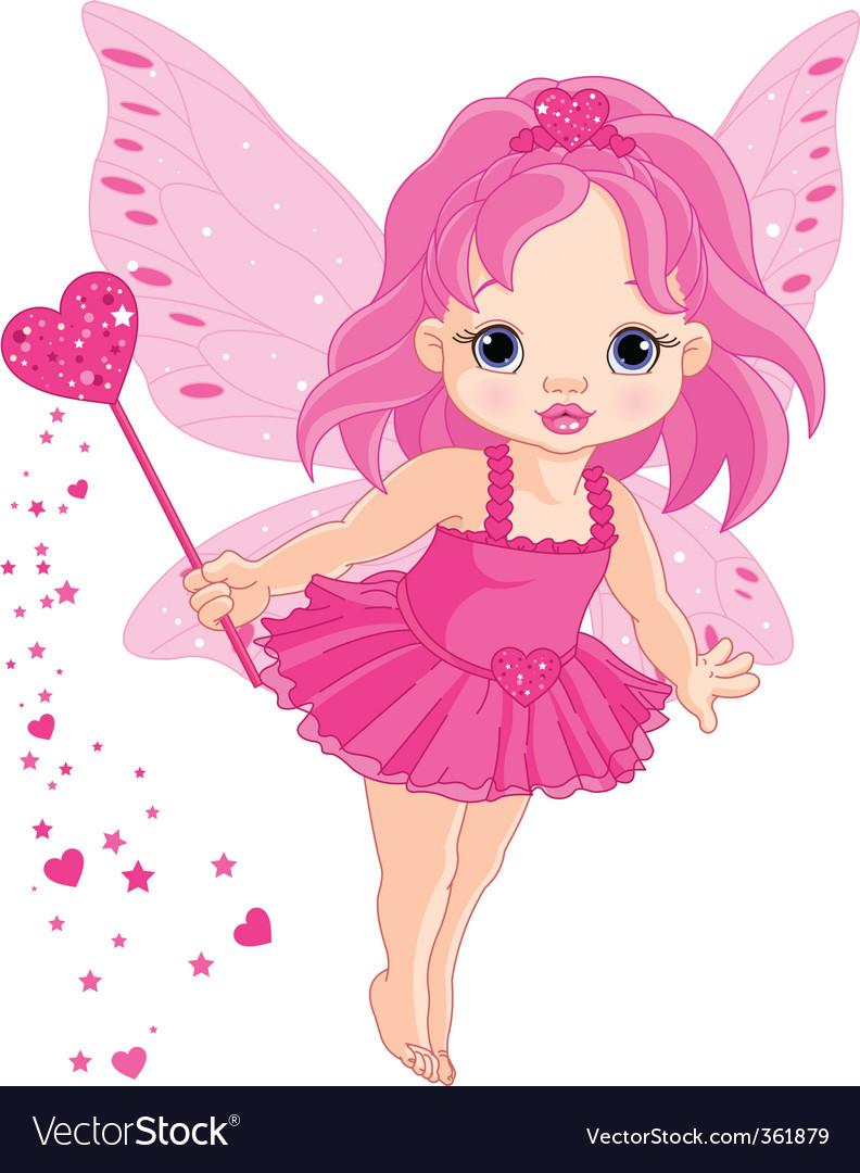 Cute little baby love fairy vector