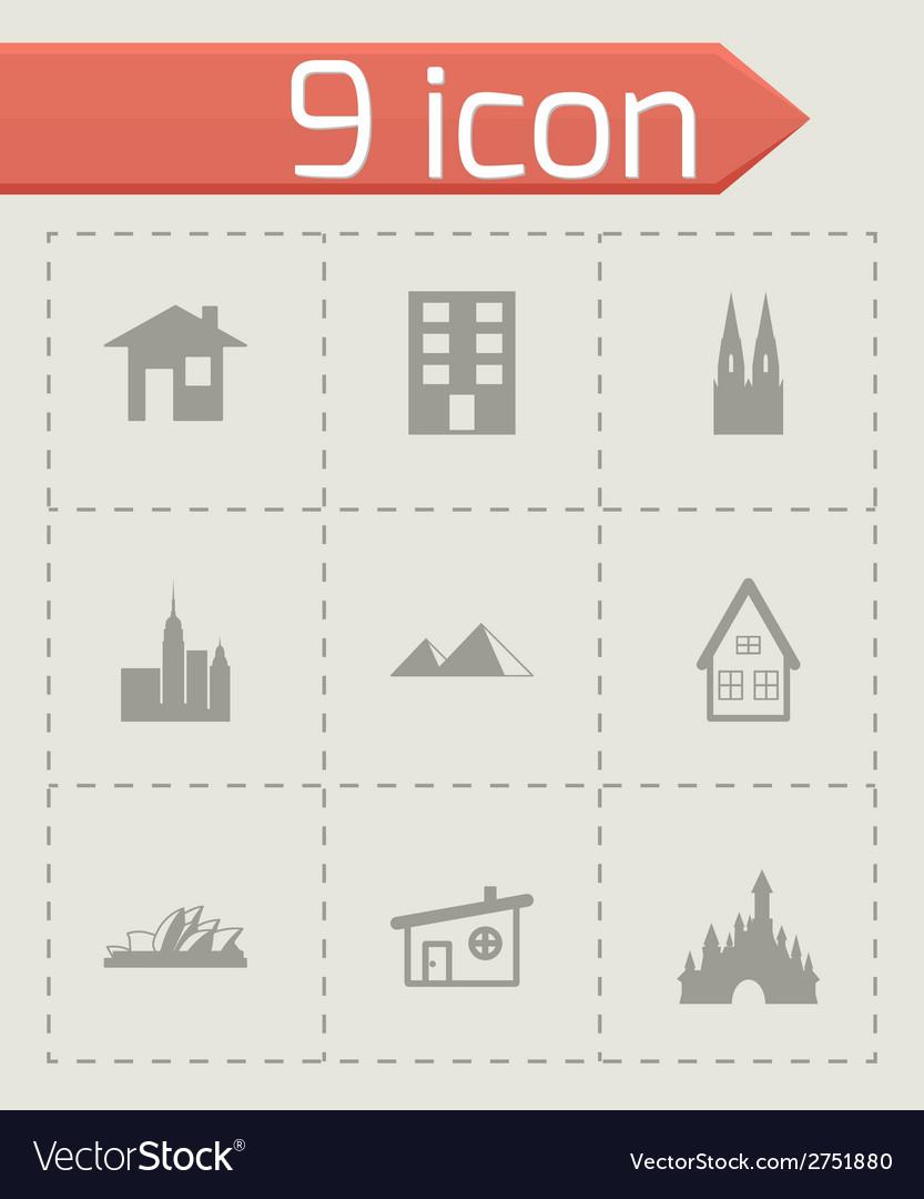 Black buildings icons set vector