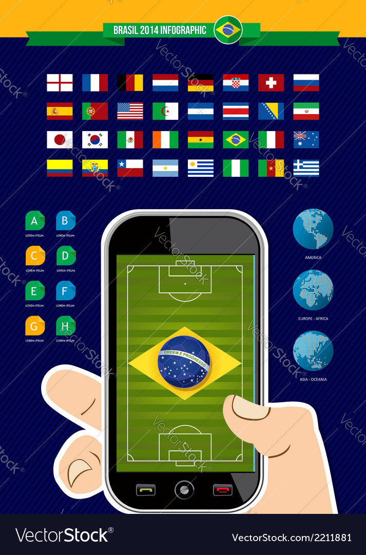 Brazil soccer championship phone infographic vector