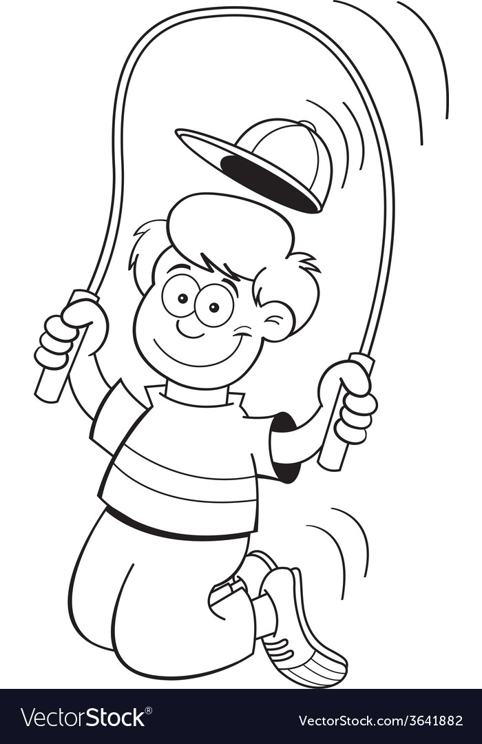 Cartoon boy using a jump rope vector