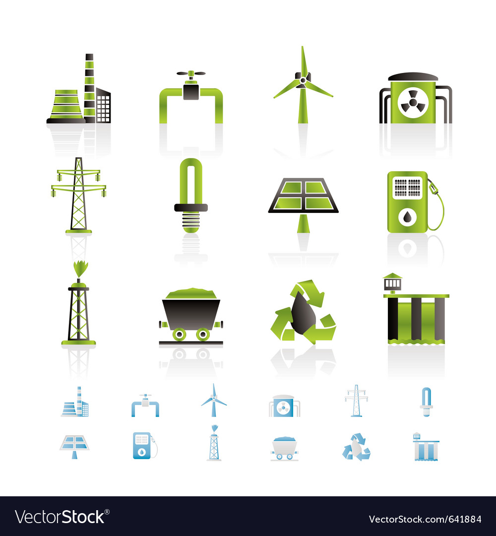 Power and electricity industry icons vector