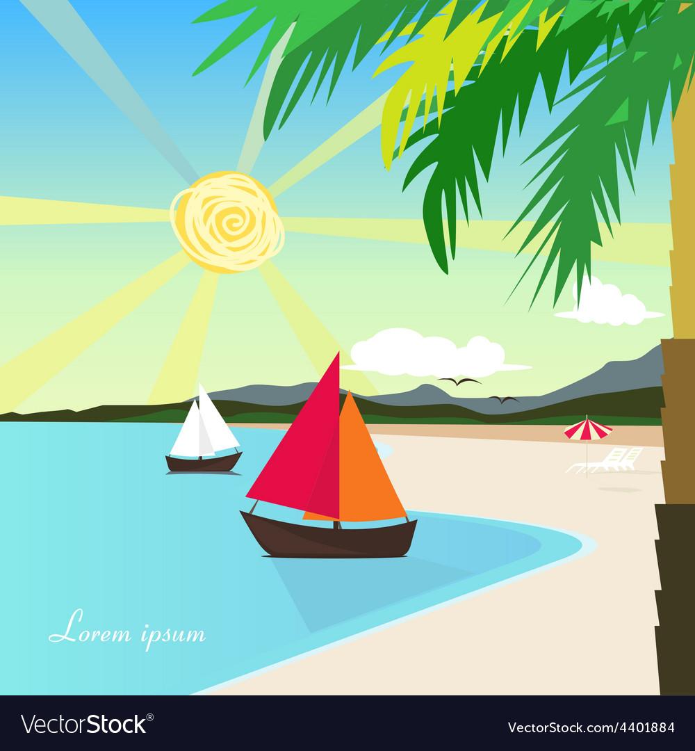 Sunny beach postcard vector