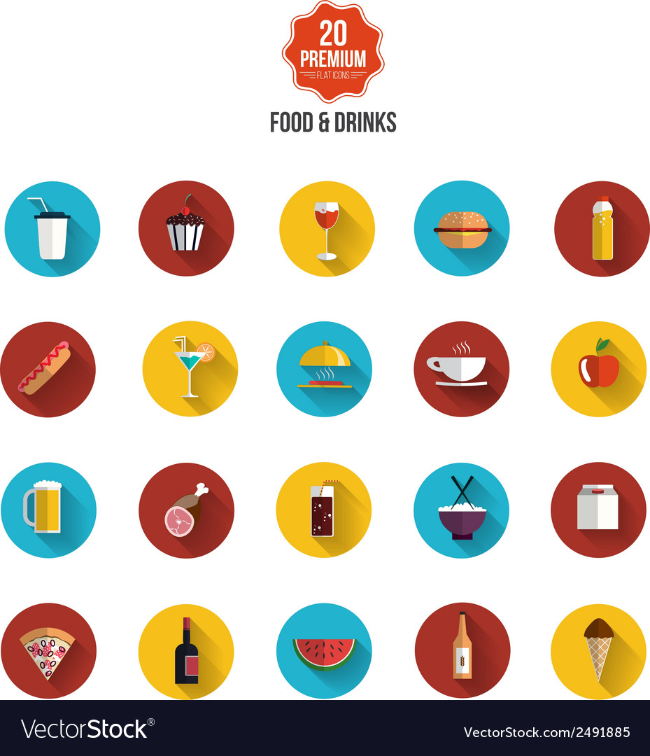 Food and drink flat icons vector