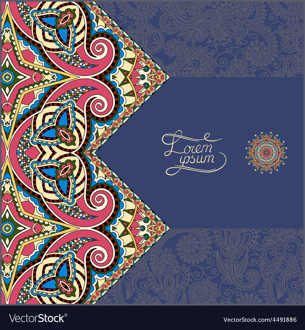 Dirty dark blue floral ornamental template with vector
