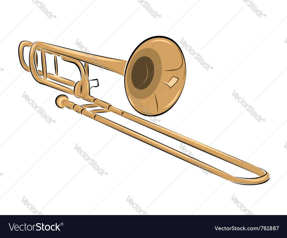 Musical instrument trombone isolated on white vector