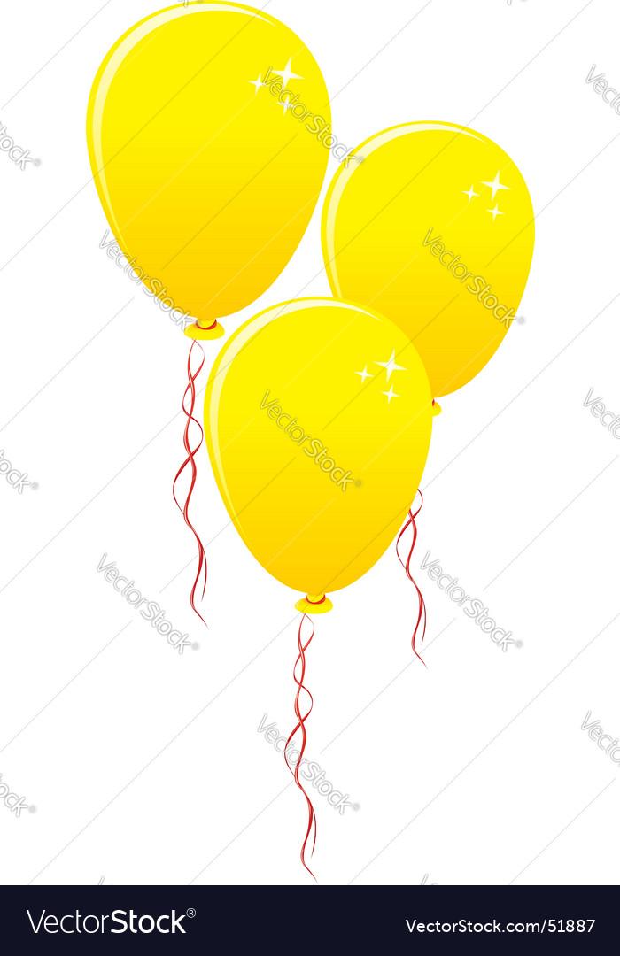 Three gold balloons vector