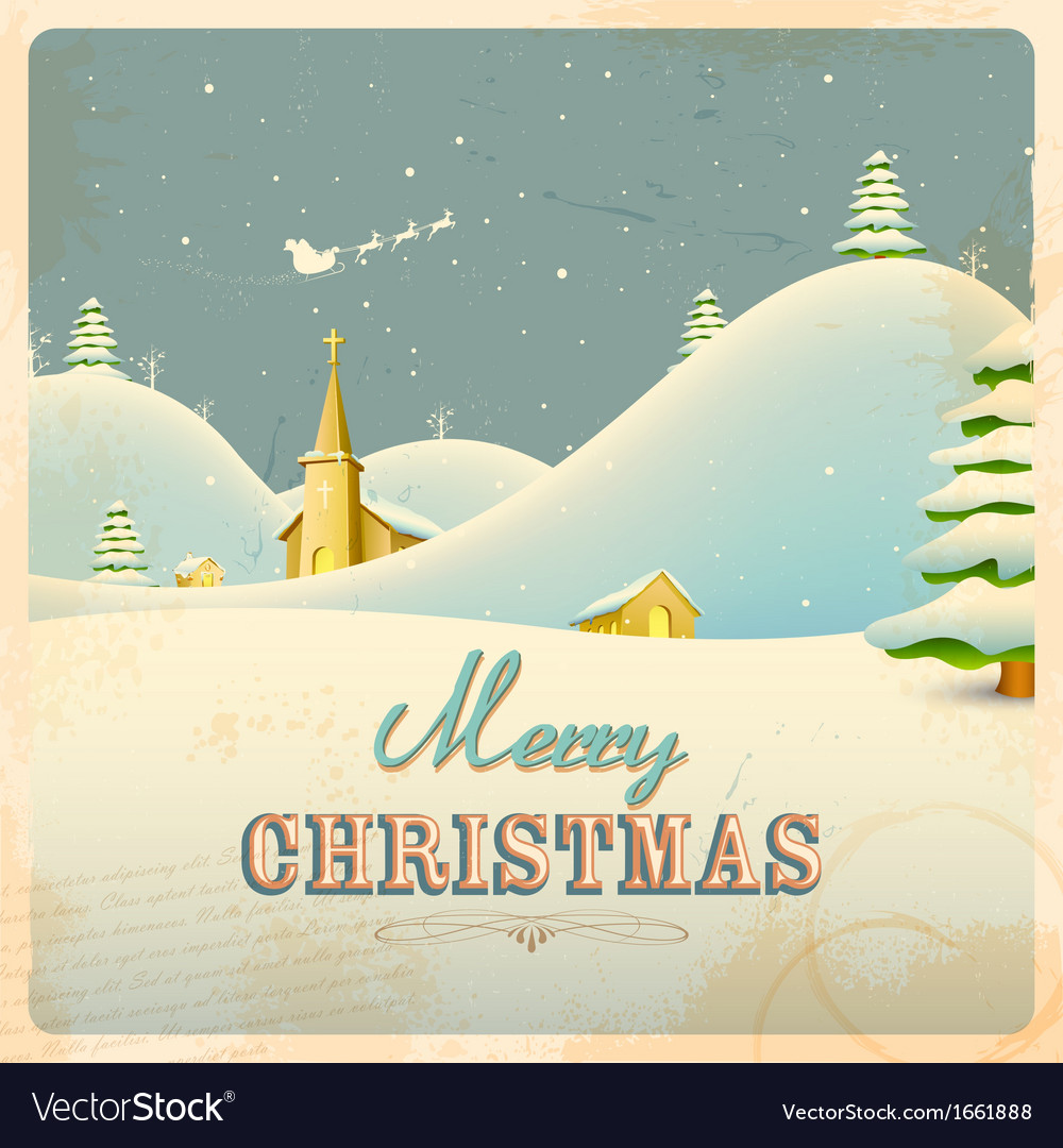 Retro christmas night vector