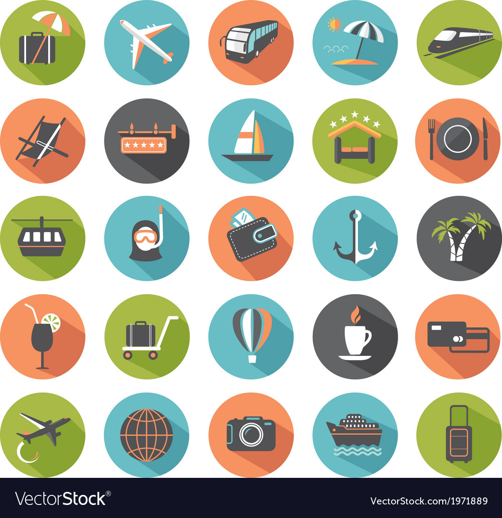 Set of modern flat travel icons vector