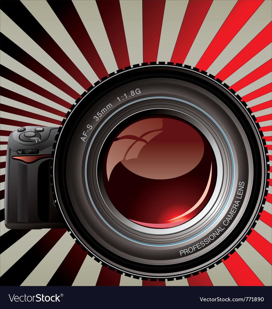 Professional camera - retro background vector