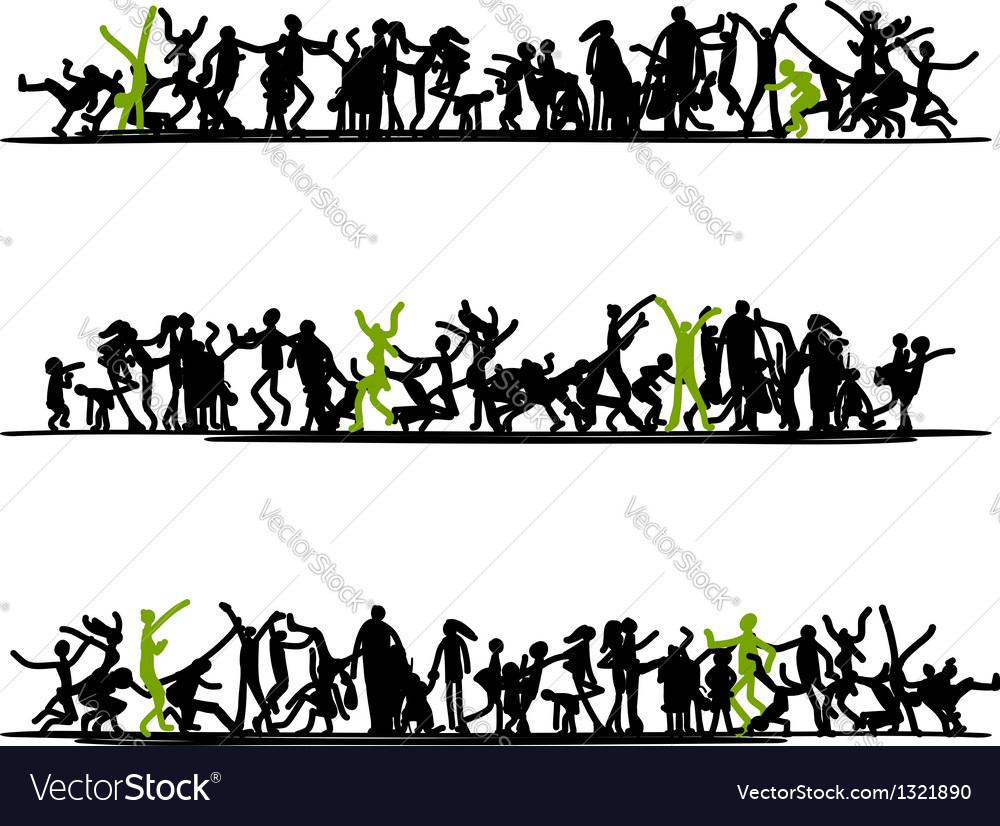 Sketch of people crowd for your design vector
