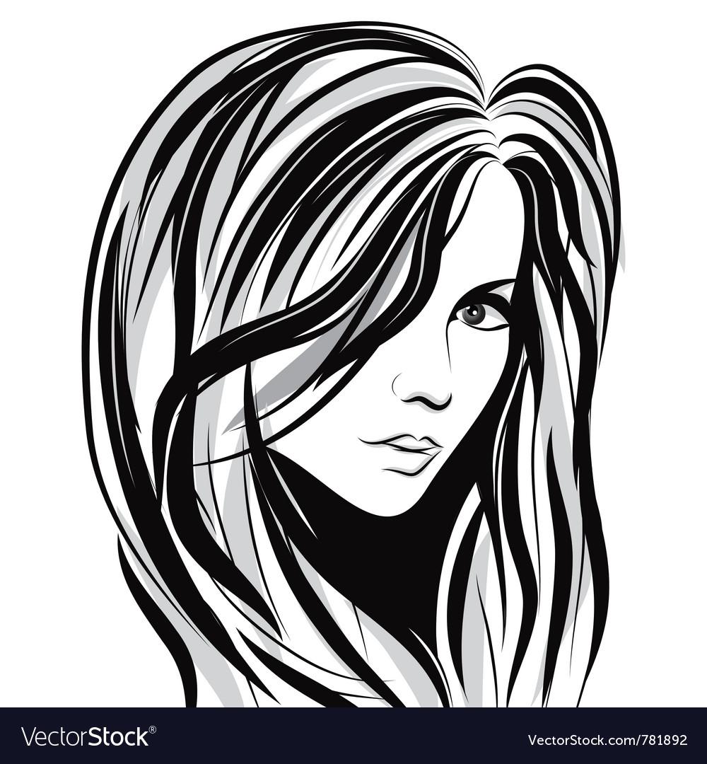 Girl sketch face vector