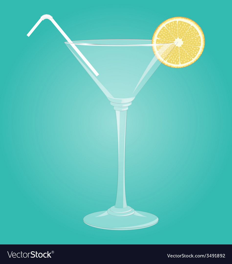 Martini glass with lemon vector