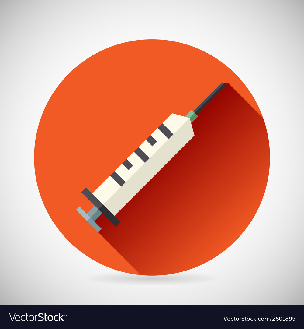 Hospital treatment symbol medical syringe prick vector