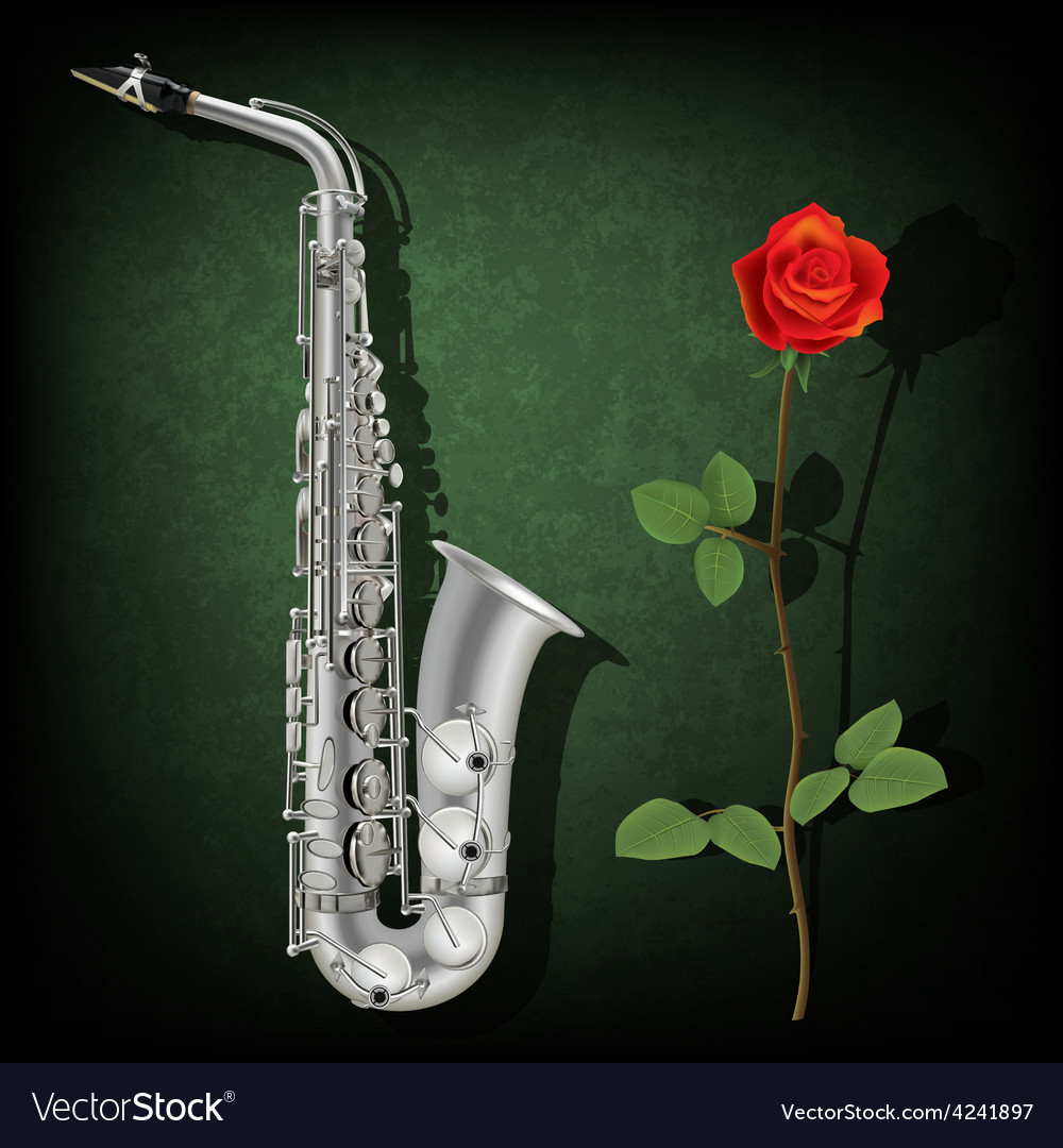 Abstract grunge green background with saxophone vector