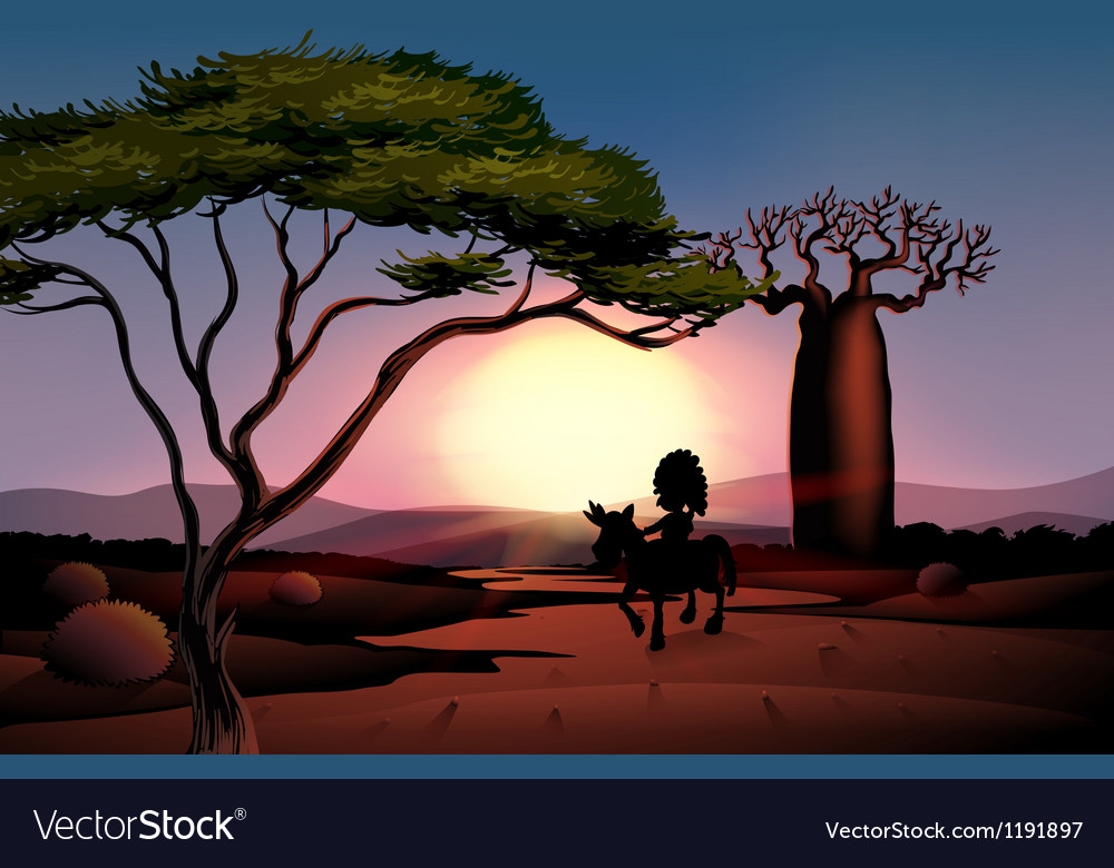 Sunset scenery vector