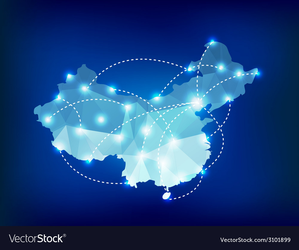 China country map polygonal with spot lights vector