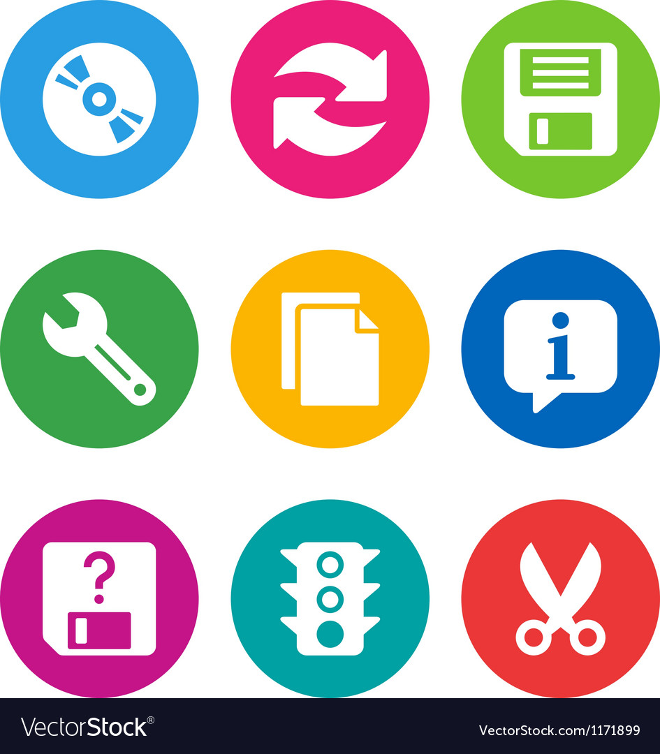 Color basic interface icons vector