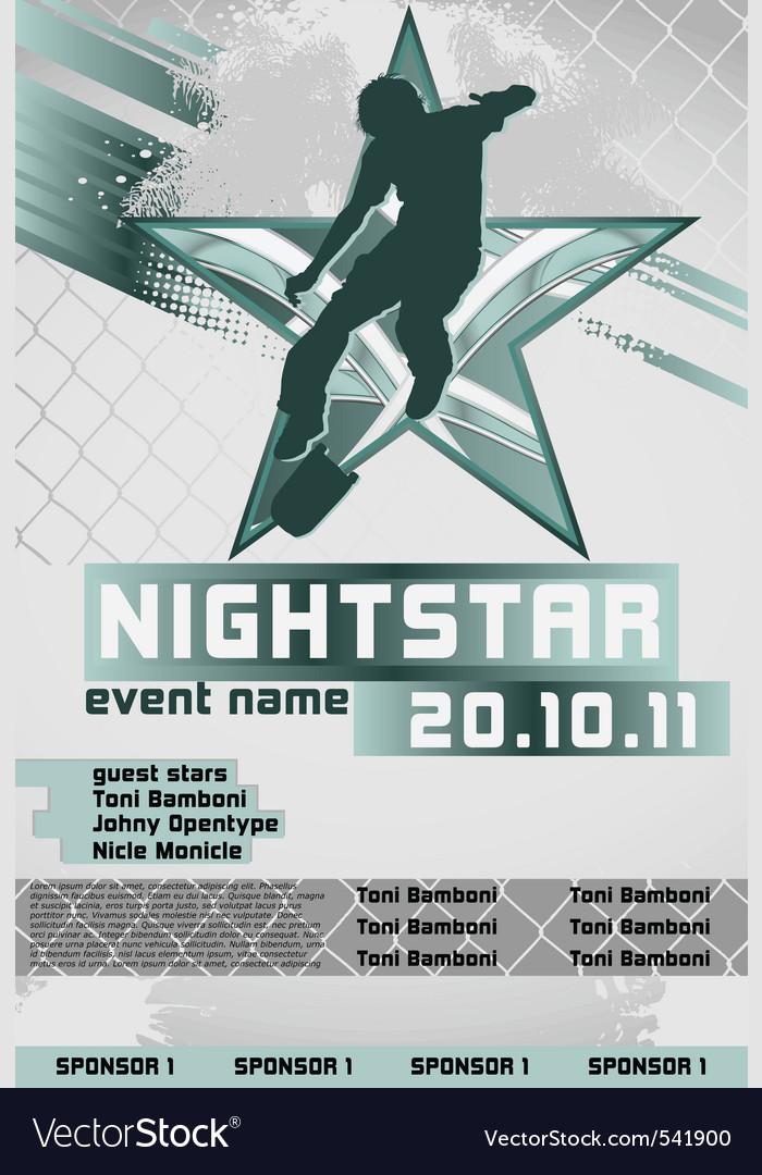 Sport event poster skateboarding vector