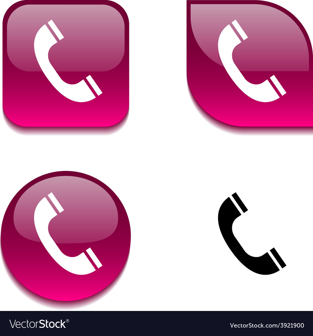 Telephone glossy button vector