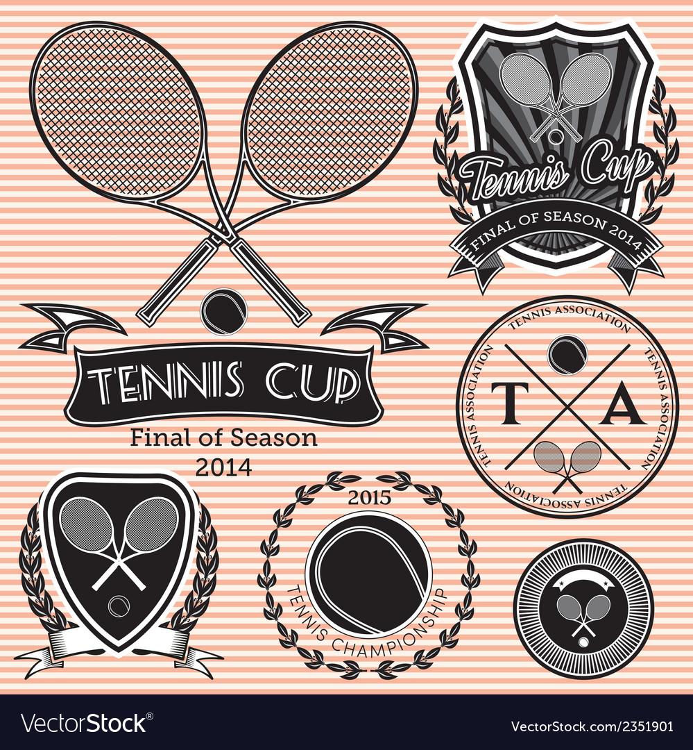 Set of emblems on big tennis vector