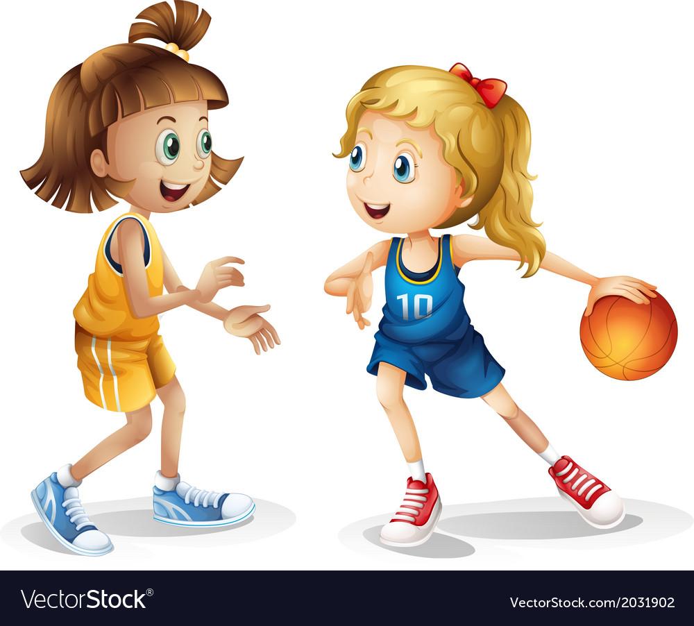 Female basketball players vector