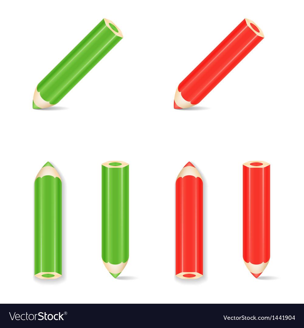 Pencil icon set green red vector