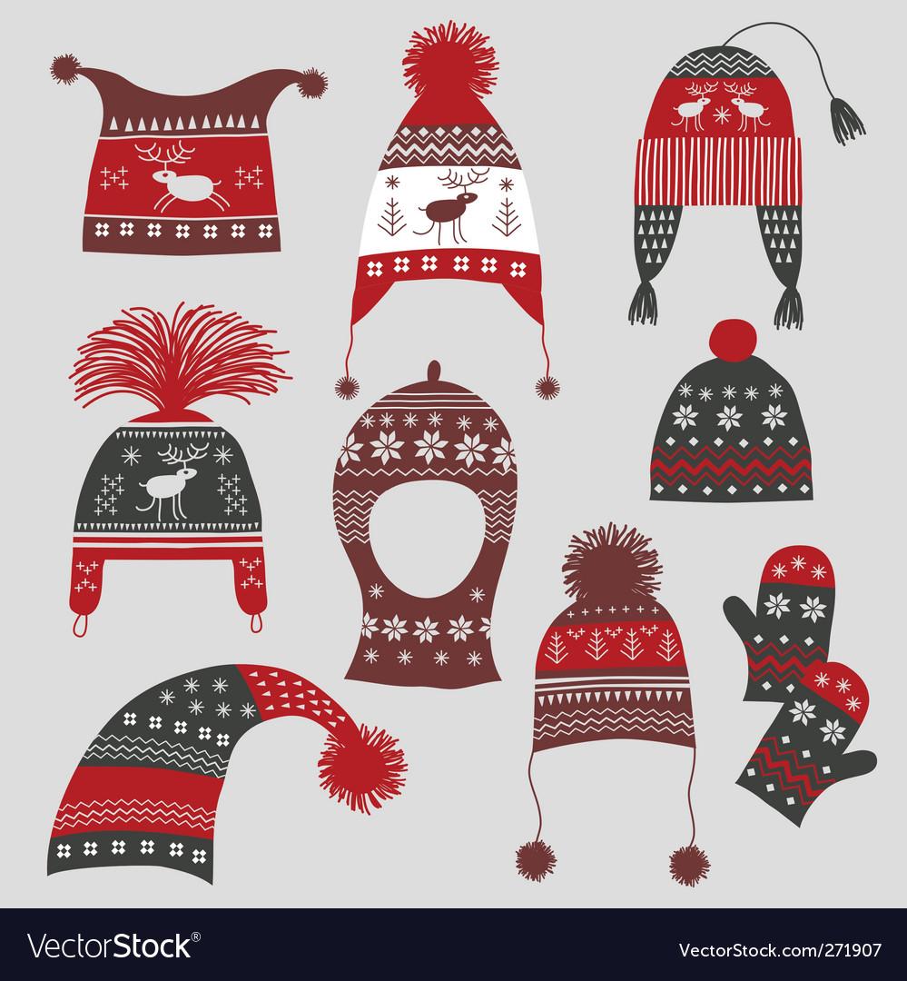 Nordic winter hats vector