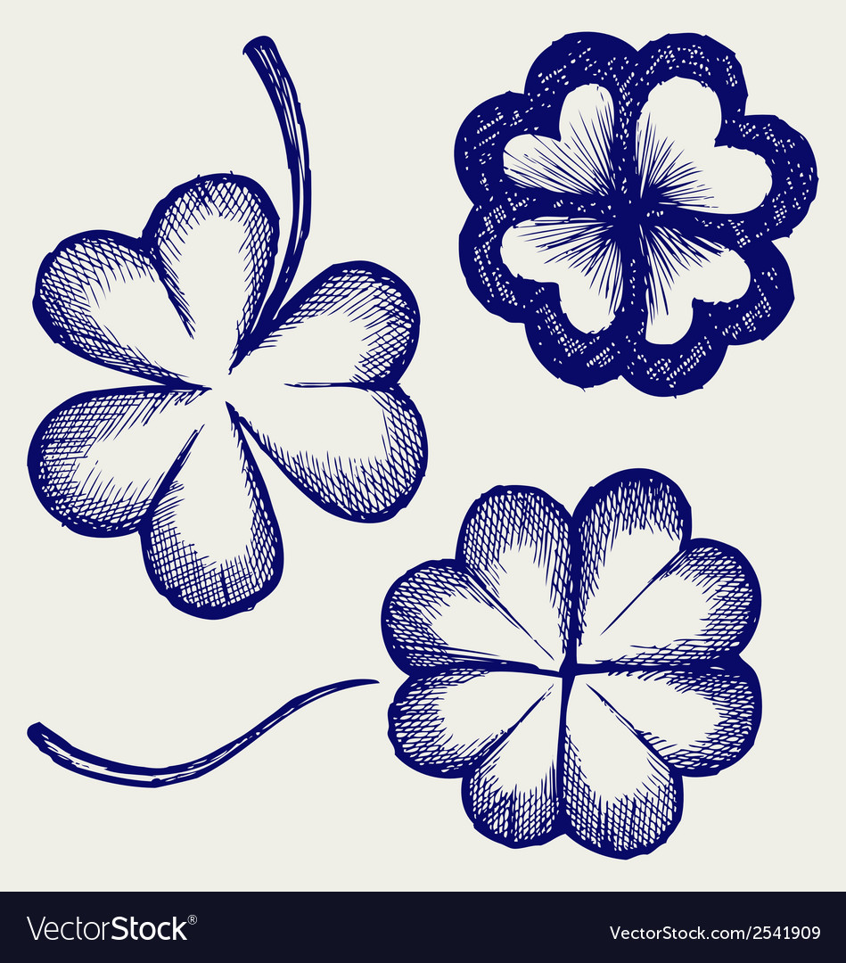 Set of hand drawn clovers vector