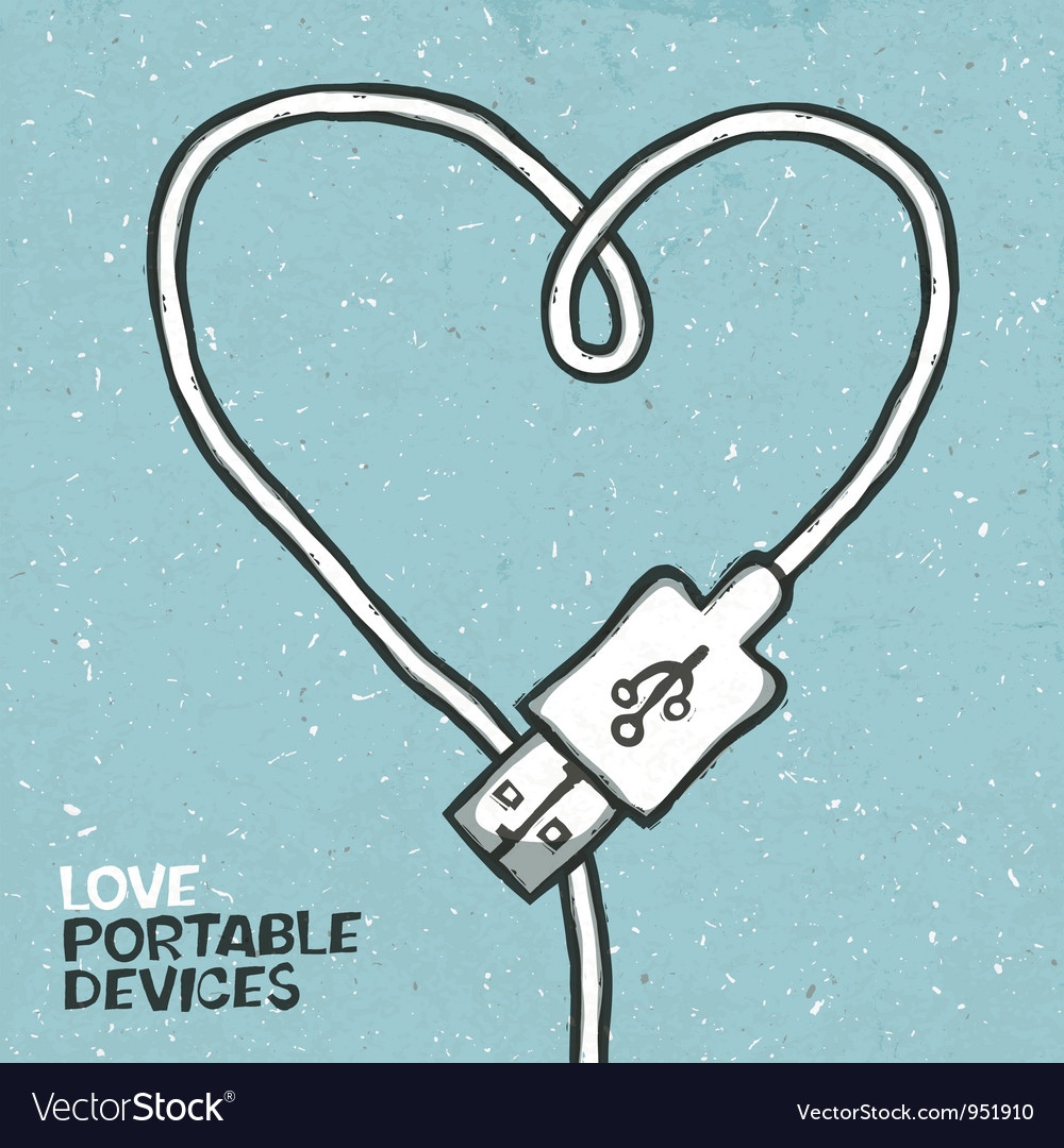 Love portable devices vector