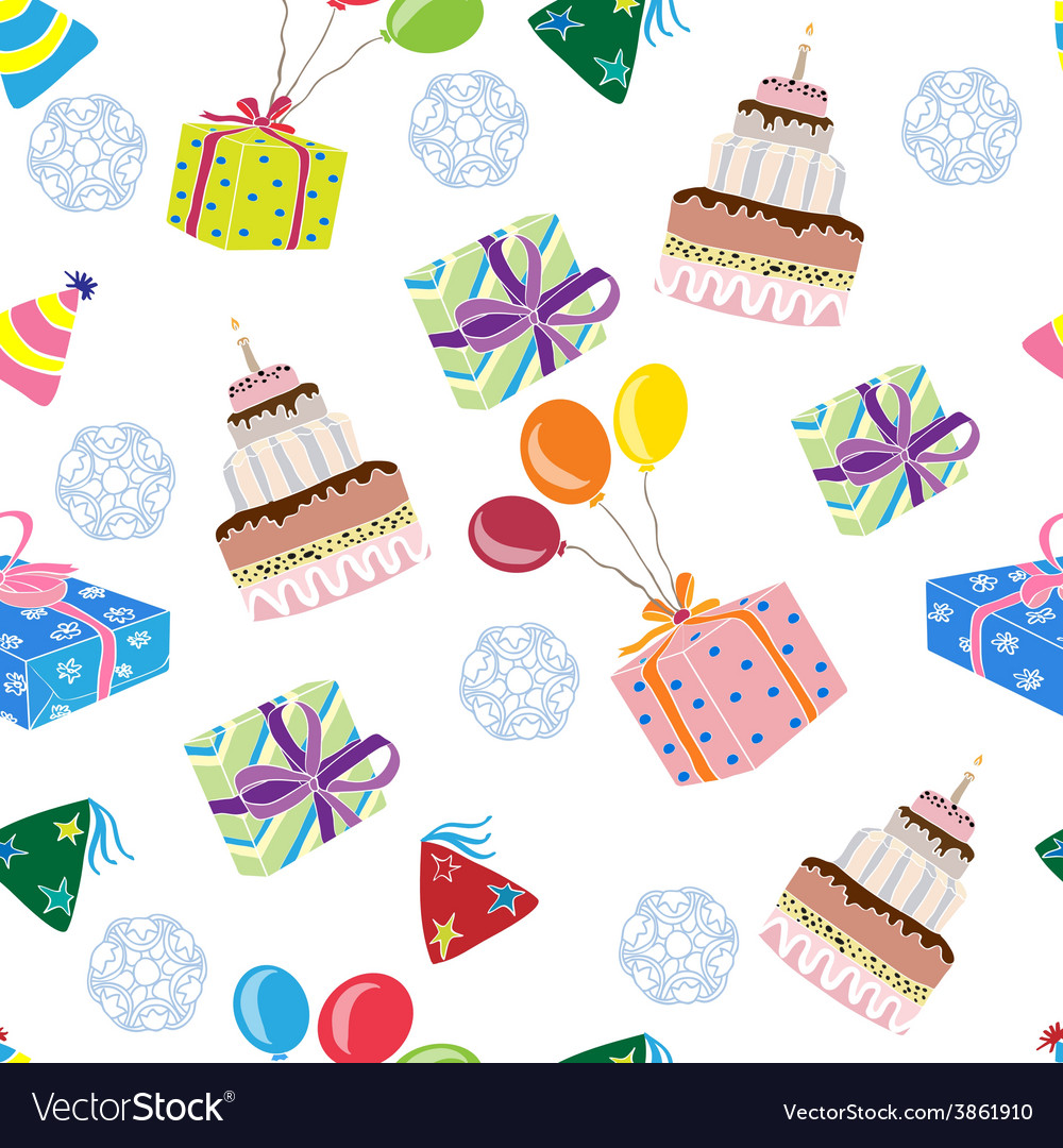 Seamles pattern with gifts and cakes vector
