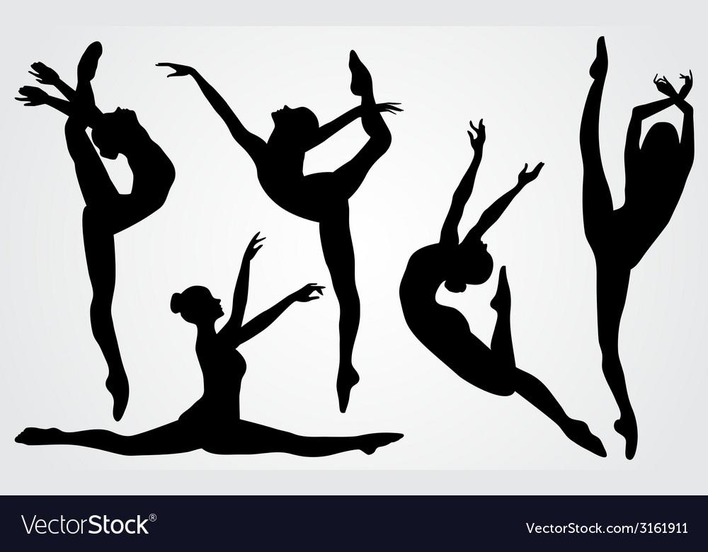 Black silhouettes of a ballerina vector