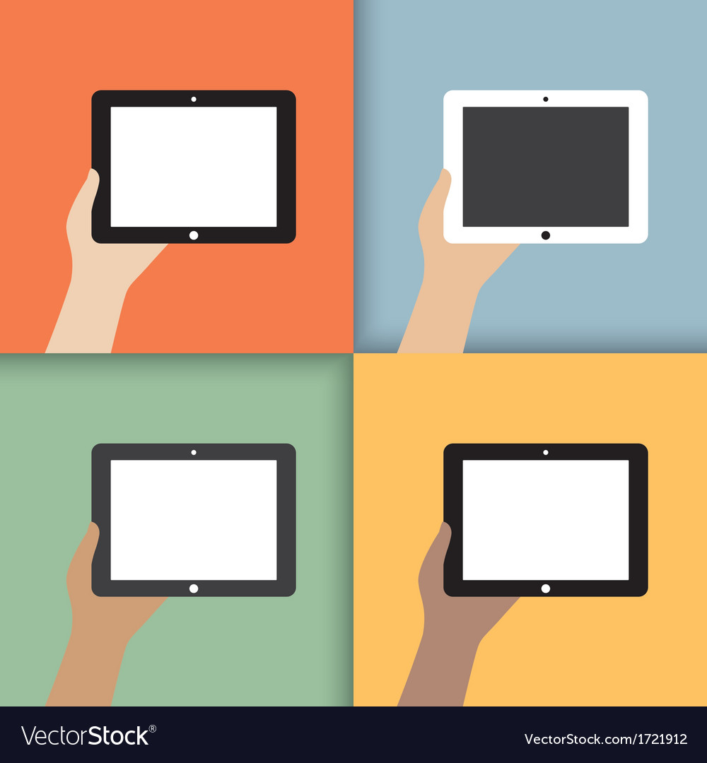 Tablet in hands vector