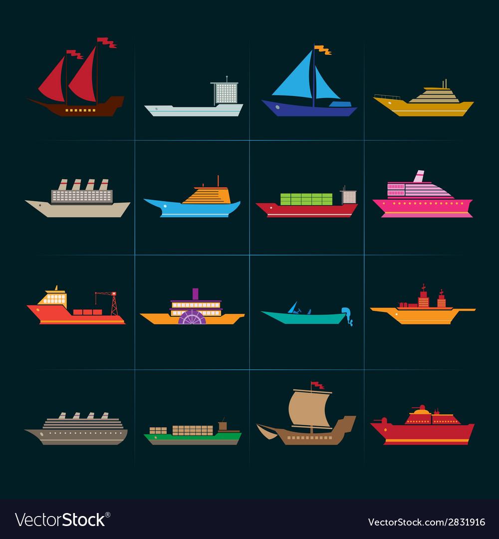 Ship and boats icons set vector