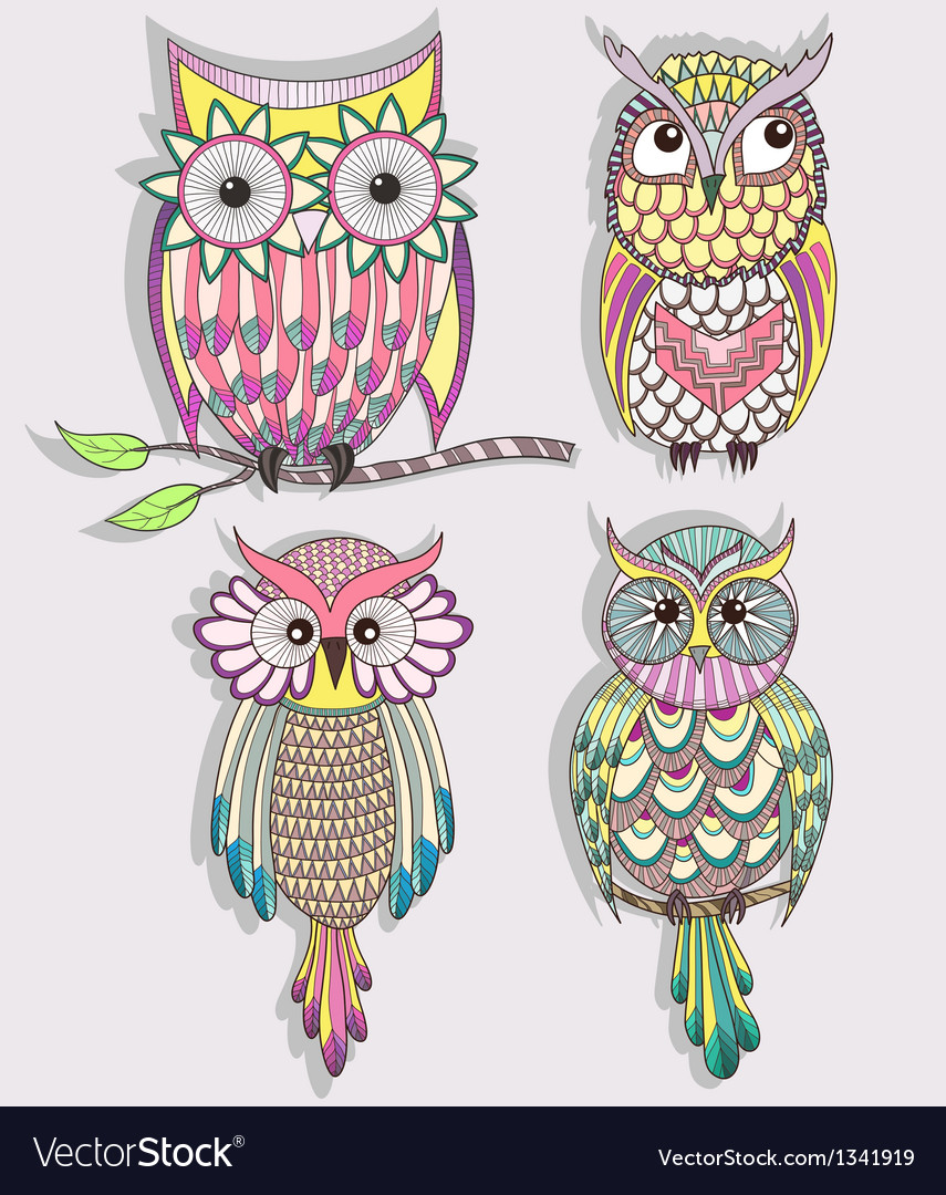 Set of cute colorful owls vector