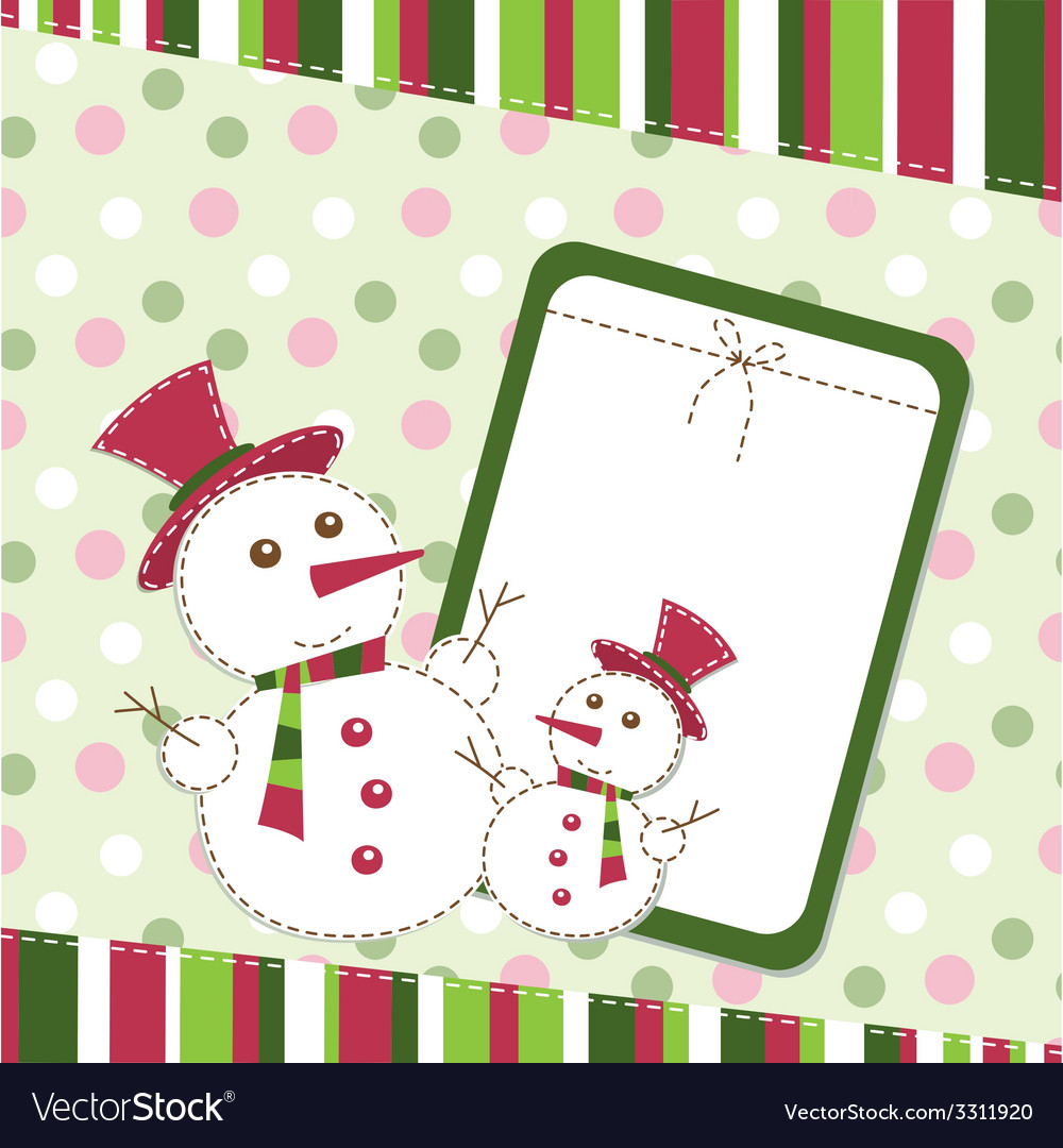 Template christmas greeting card with snowmen vector