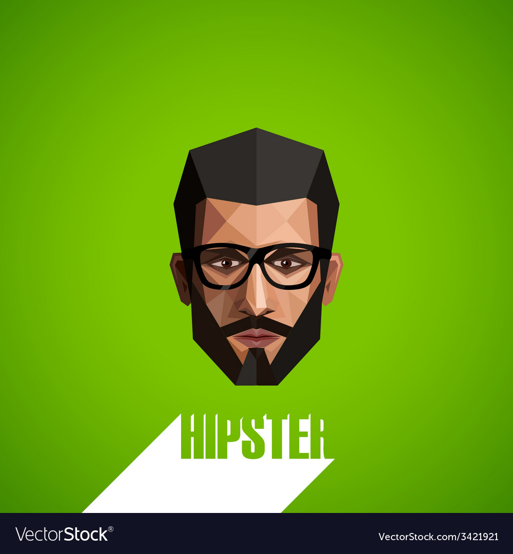 With a male face in origami style hipster vector