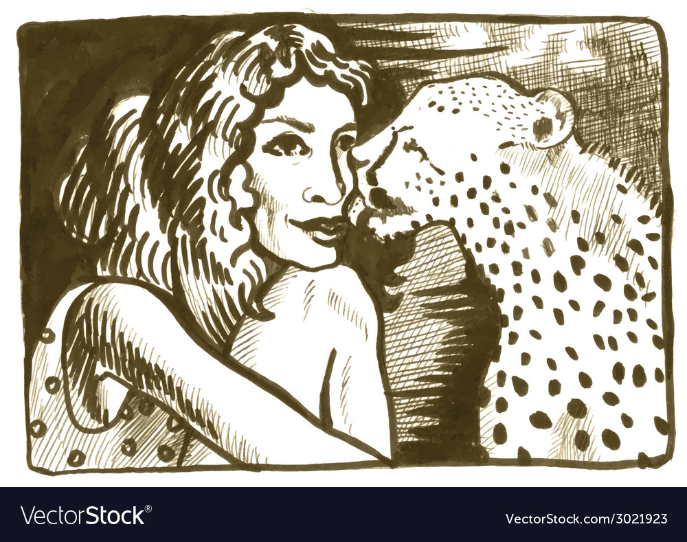 Underground comix woman with leopard vector