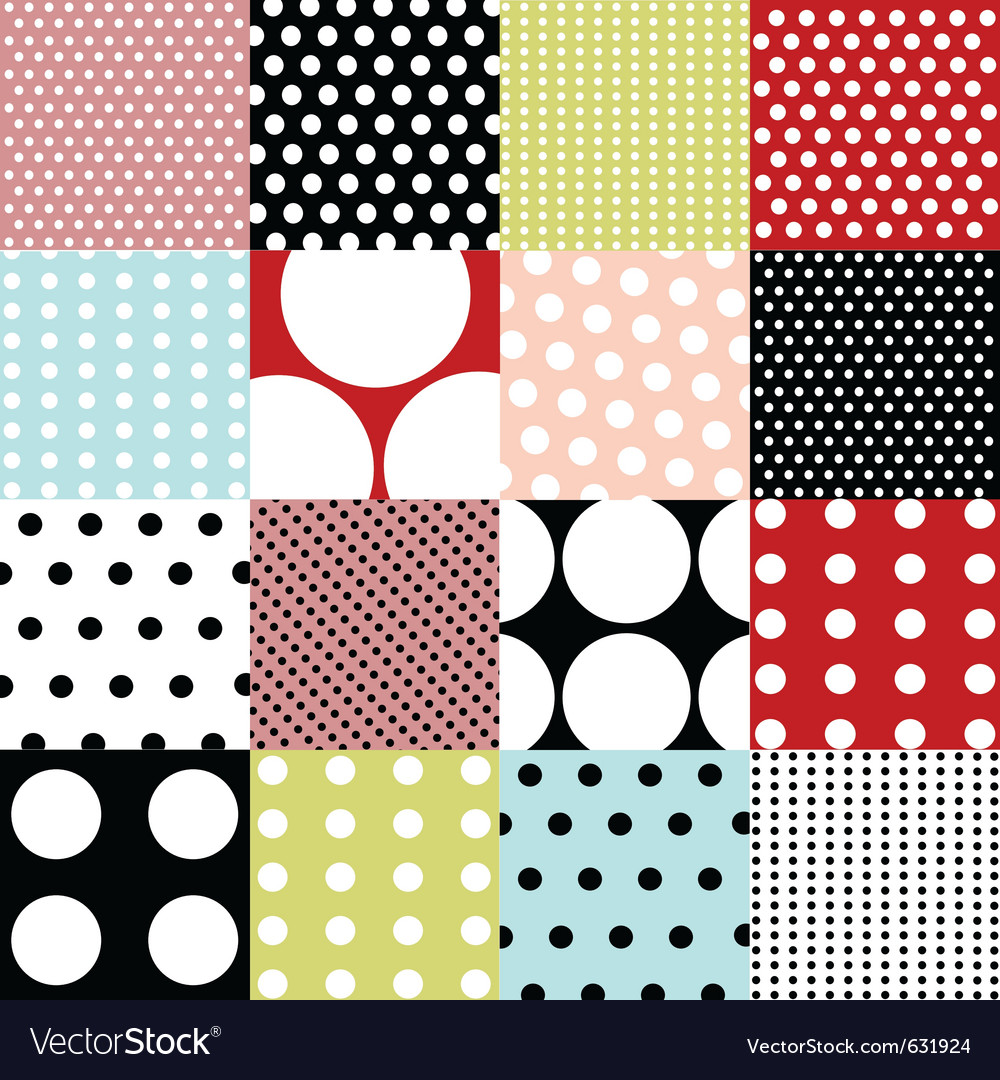 Seamless patterns - polka dot set vector