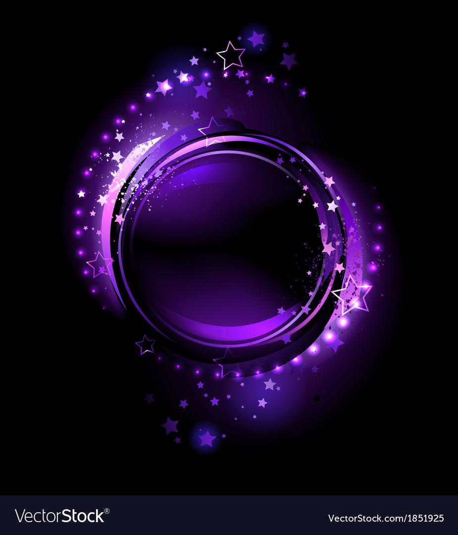 Purple round banner vector