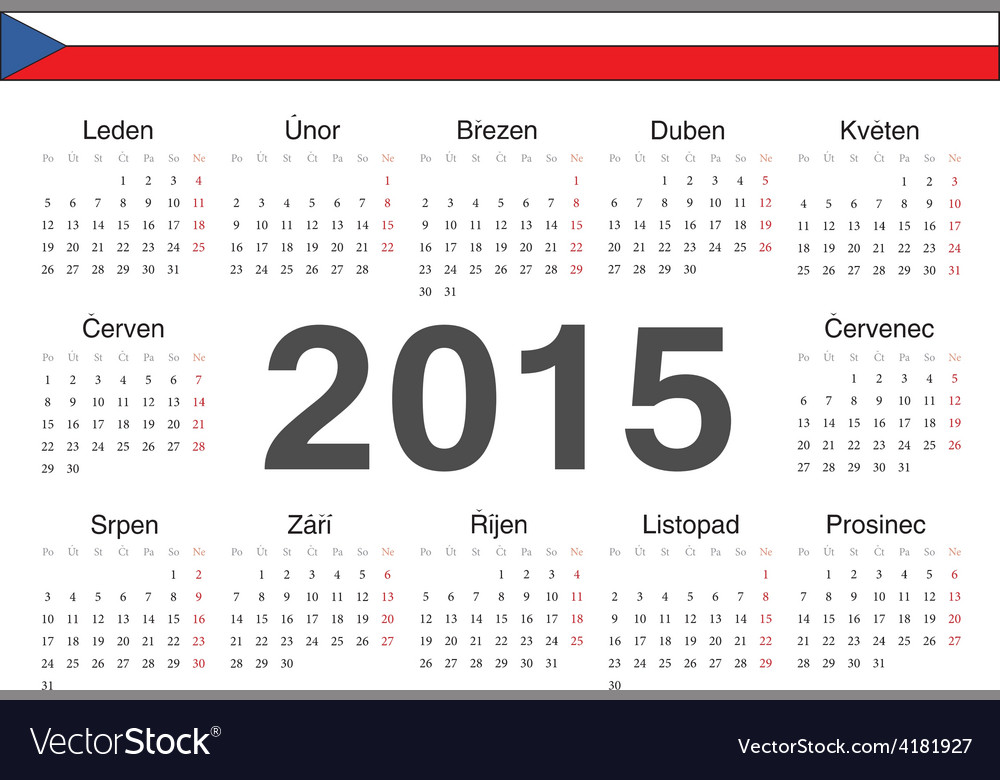 Circle czech 2015 year calendar vector