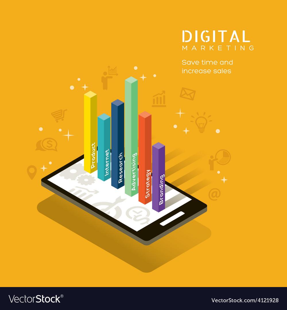 Digital marketing media graph on smartphone vector