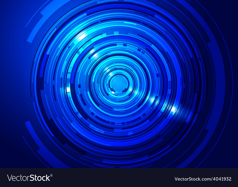Abstract technology circles blue background vector