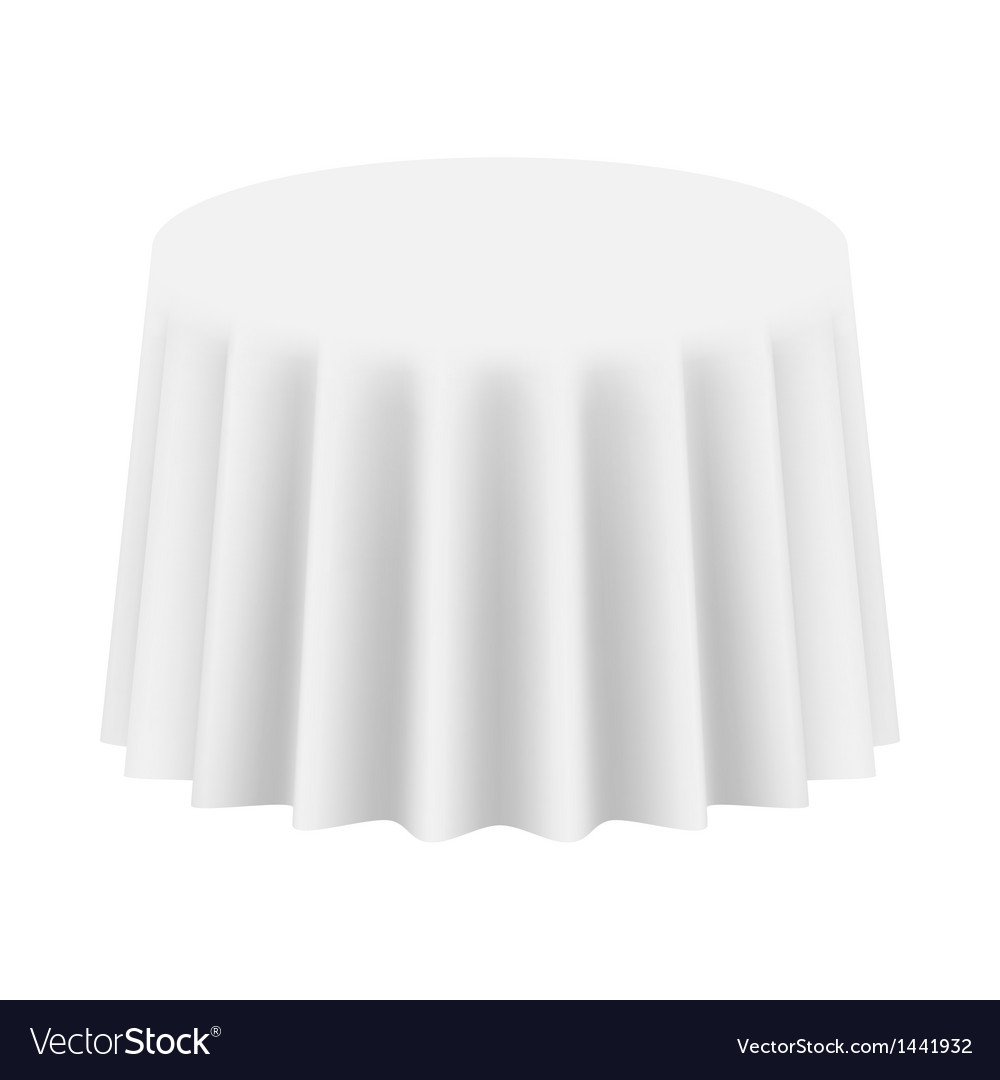 Empty round table cloth isolated vector