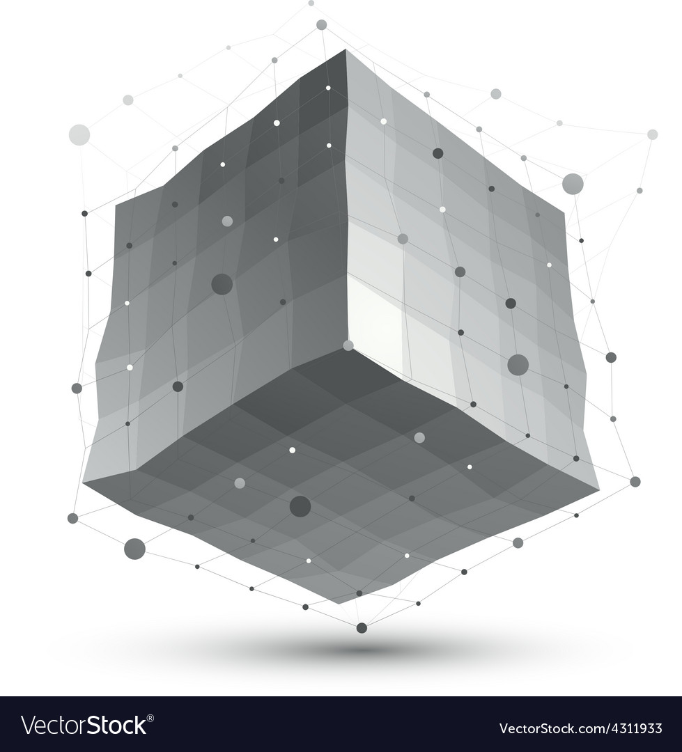 Abstract deformed monochrome object with lines vector