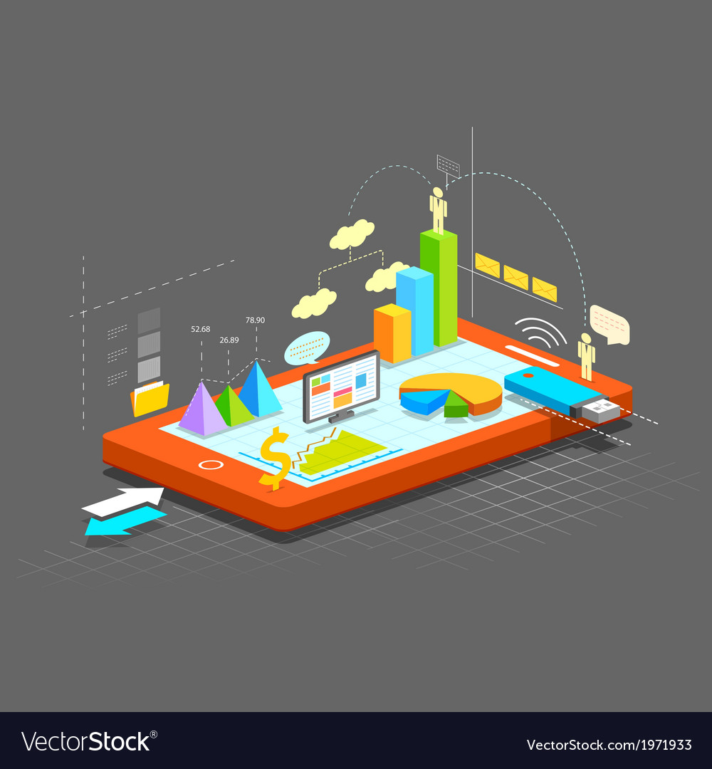Business graph on mobile screen vector